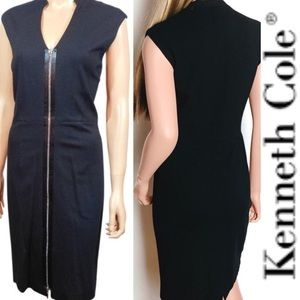 Kenneth Cole Small Black Full Zipper Fitted Dress